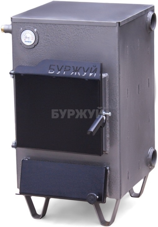 Котел твердотопливный Буржуй К-15 кВт дымоход назад (4 мм)